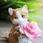 Силиконовая форма «Котенок с розой»
