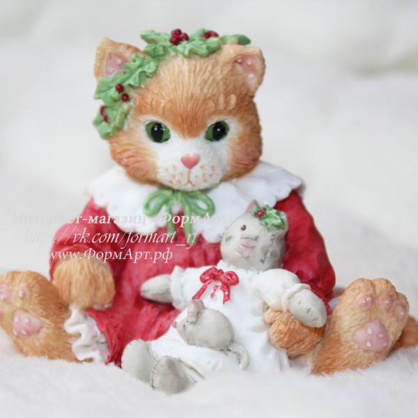 """Силиконовая форма """"Котенок с игрушкой в Рождество"""""""