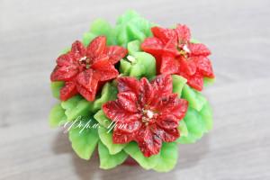 Состоит из нескольких форм (отдельно цветы и листья). Вес готового изделия (мыла, свечи) ~120 грамм. Материал: мягкий, эластичный силикон