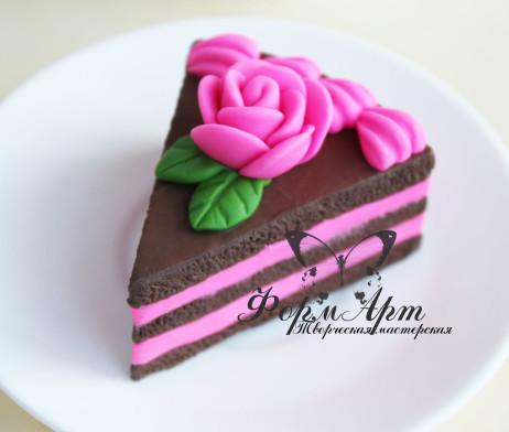 """Силиконовая форма """"Кусочек торта с розой"""""""