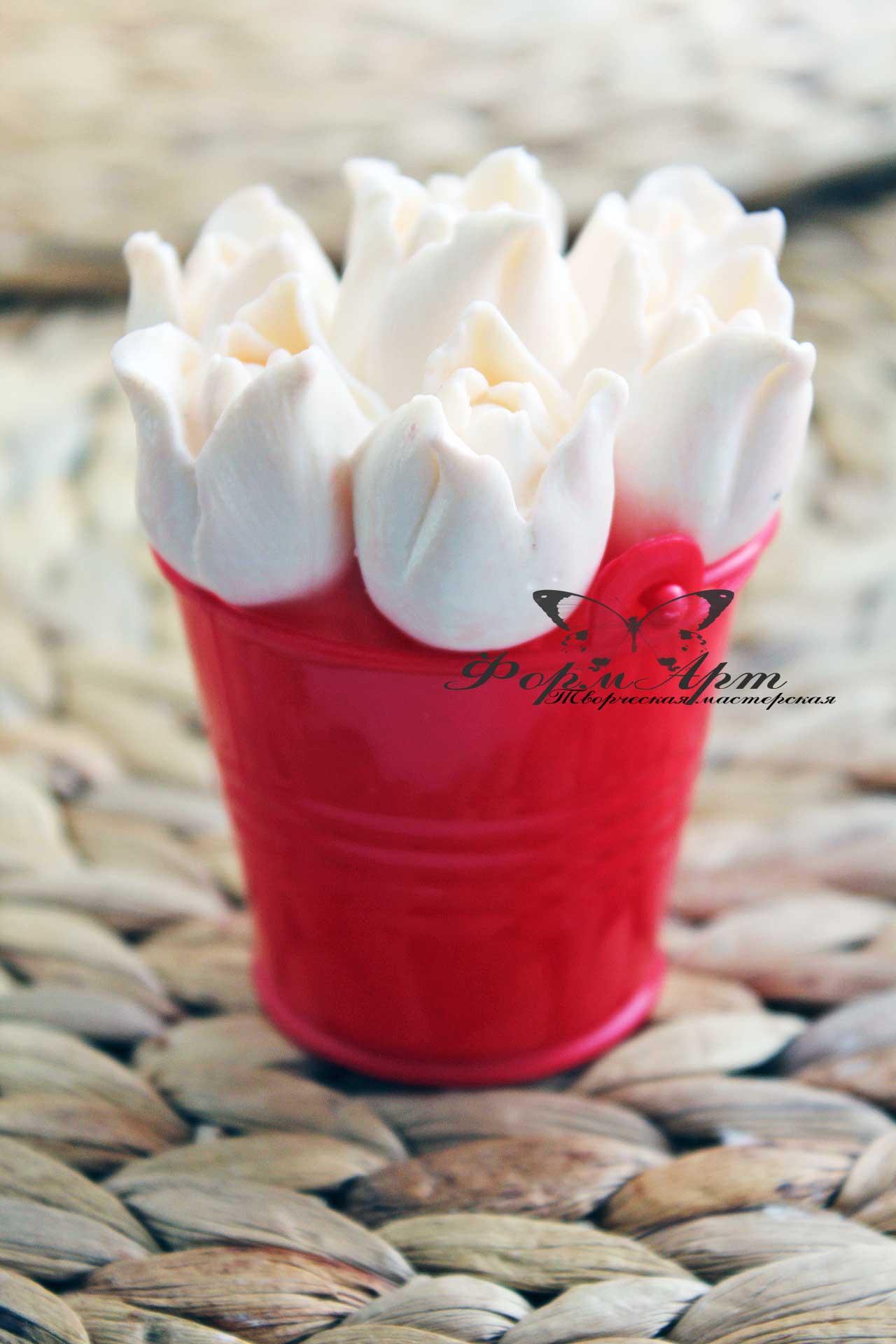 """Силиконовая форма """"Верхушка от Букета из 7 тюльпанов"""" идеально подходит в пластиковые ведерки Высота 5 см, диаметр 6 см. Вес мыла примерно 90 грамм"""